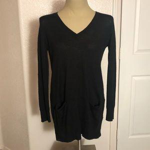 Rocker chic black long tunic sweater